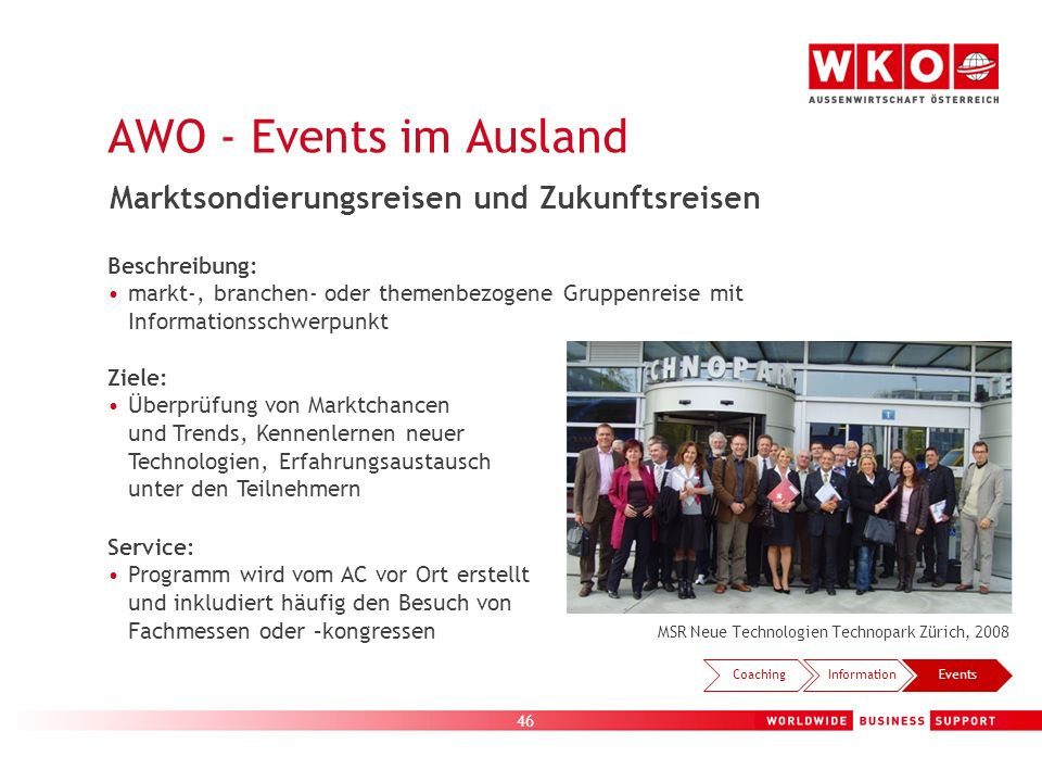 AWO - Events im Ausland Marktsondierungsreisen und Zukunftsreisen