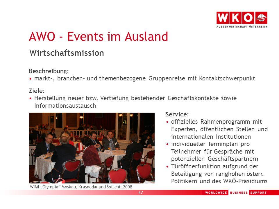 AWO - Events im Ausland Wirtschaftsmission Beispiele: Beschreibung: