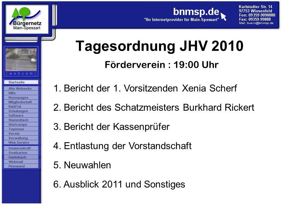 Tagesordnung JHV 2010 Förderverein : 19:00 Uhr