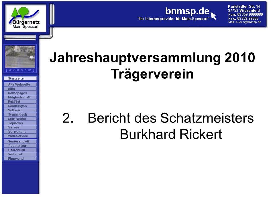 Bericht des Schatzmeisters Burkhard Rickert