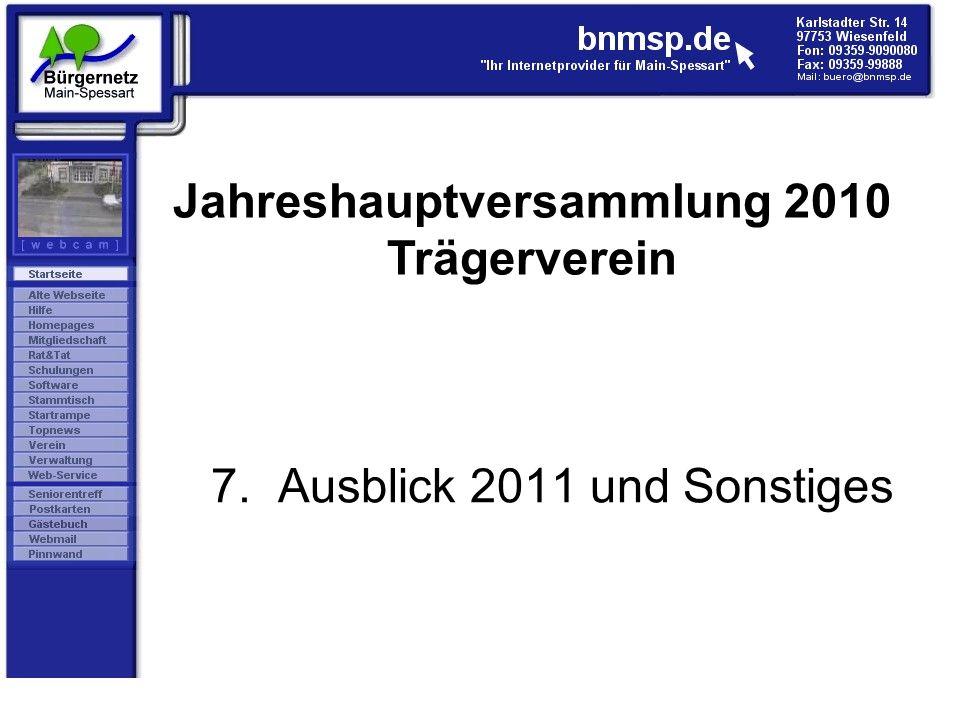 7. Ausblick 2011 und Sonstiges