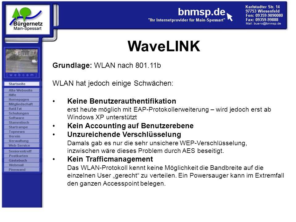 WaveLINK Grundlage: WLAN nach 801.11b