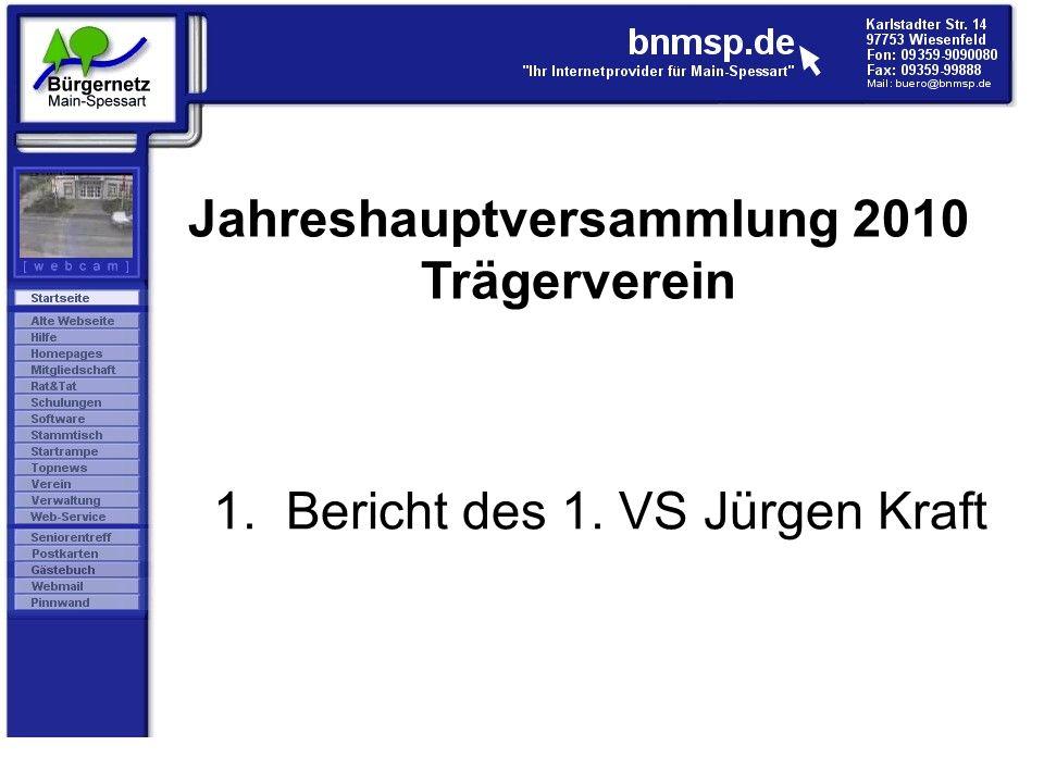 1. Bericht des 1. VS Jürgen Kraft