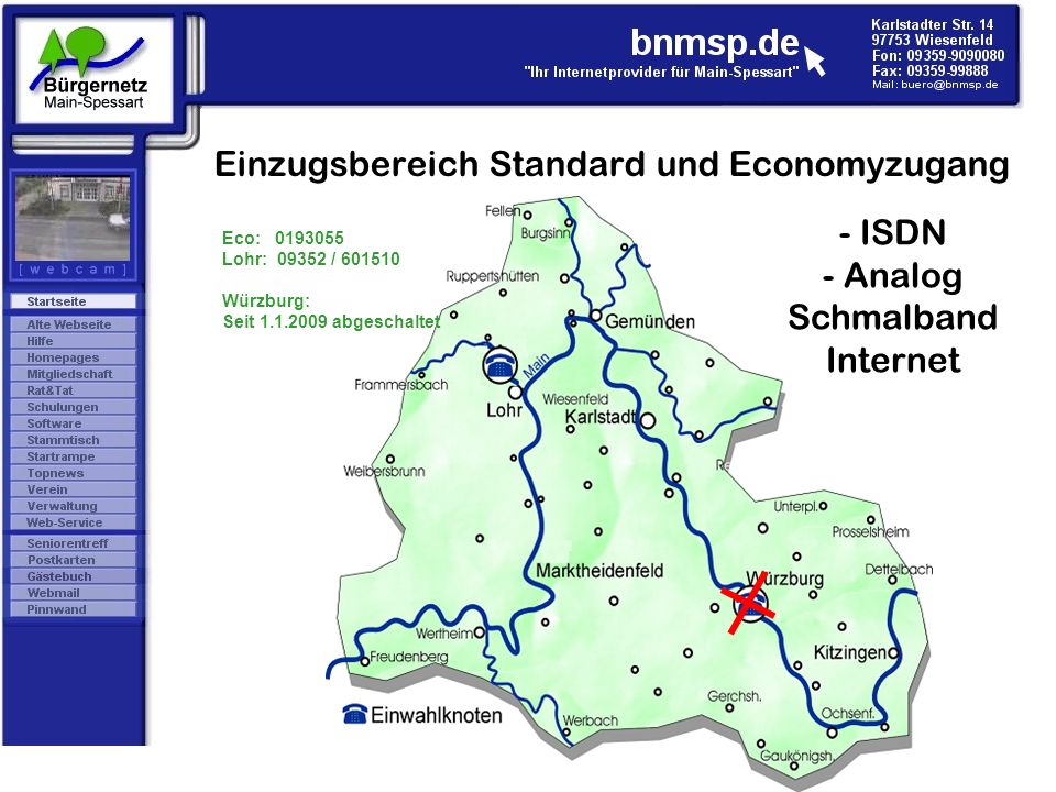 Einzugsbereich Standard und Economyzugang