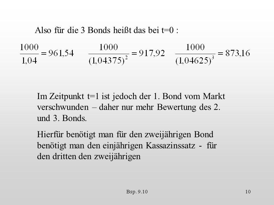 Also für die 3 Bonds heißt das bei t=0 :