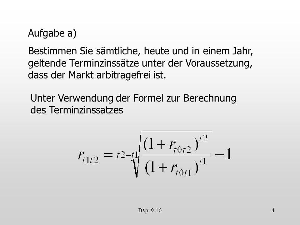 Unter Verwendung der Formel zur Berechnung des Terminzinssatzes