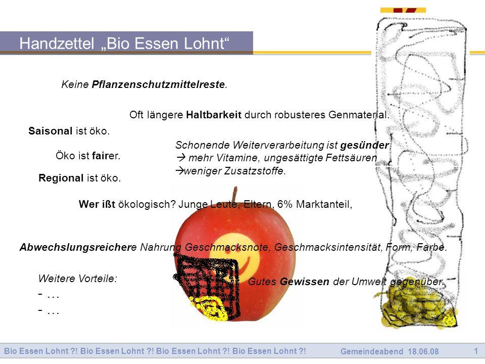 """Handzettel """"Bio Essen Lohnt"""