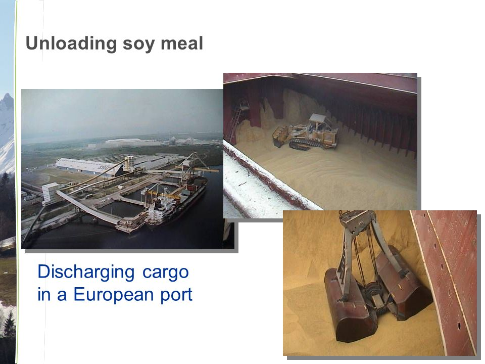 Unloading soy meal Discharging cargo in a European port