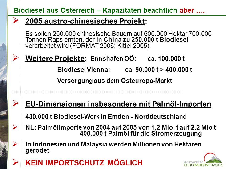 Weitere Projekte: Ennshafen OÖ: ca. 100.000 t