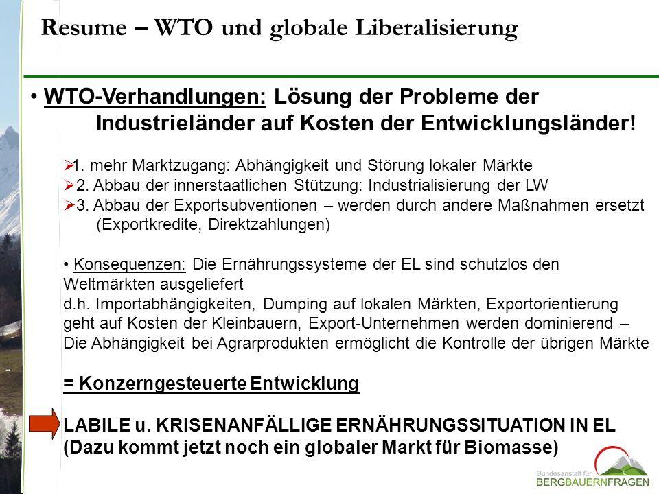 Resume – WTO und globale Liberalisierung