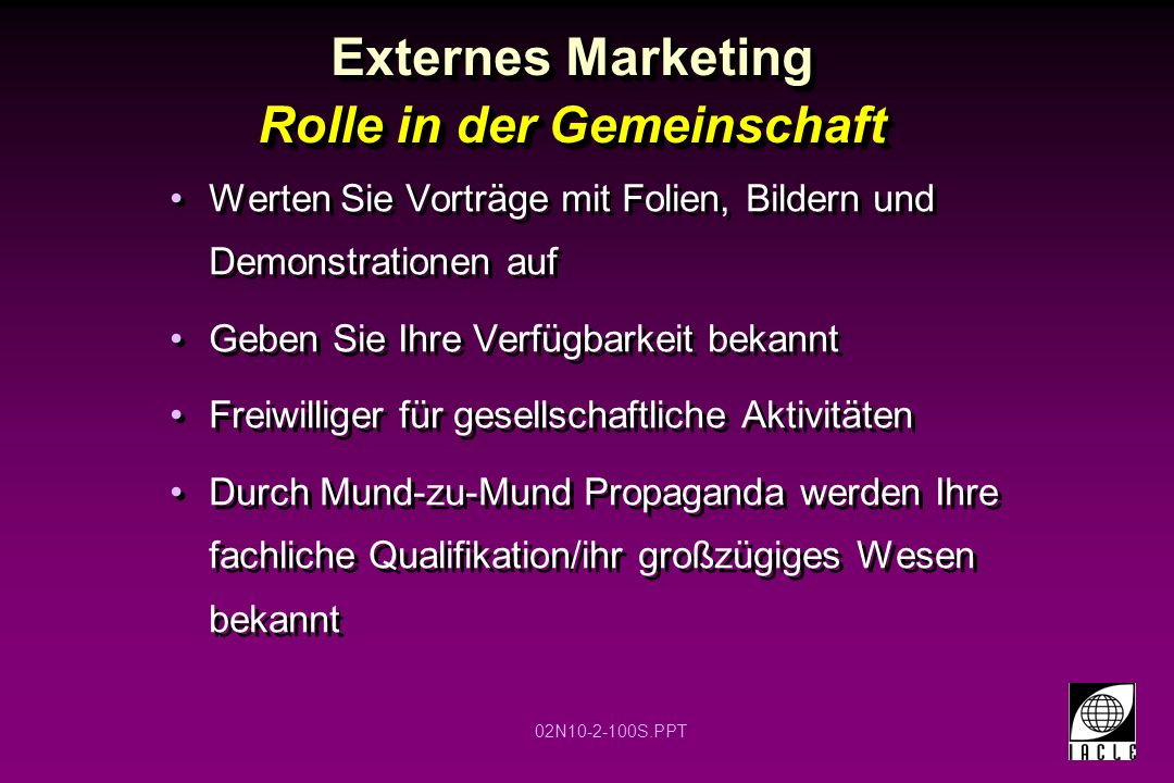 Externes Marketing Rolle in der Gemeinschaft