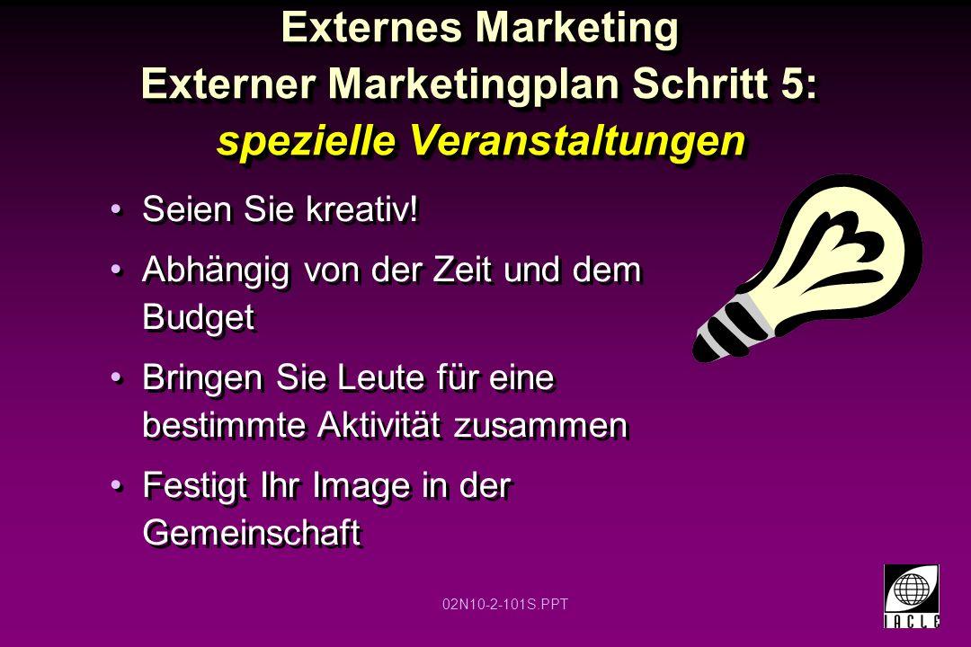 Externes Marketing Externer Marketingplan Schritt 5: spezielle Veranstaltungen
