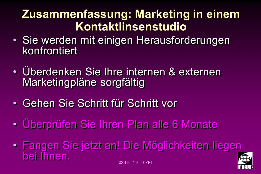 Zusammenfassung: Marketing in einem Kontaktlinsenstudio