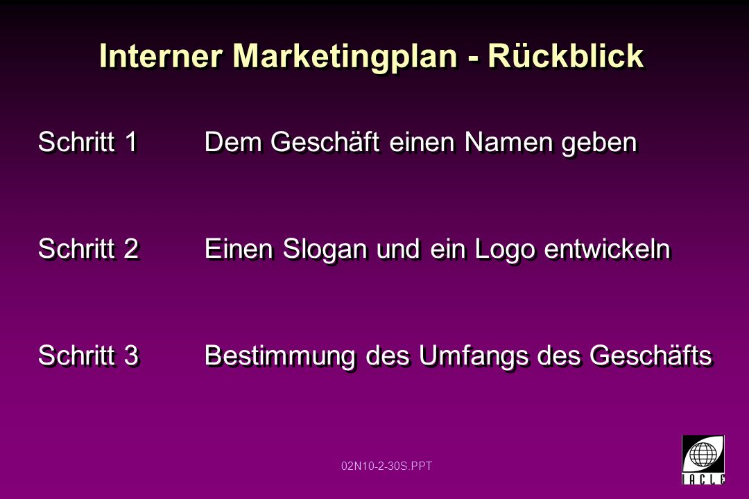 Interner Marketingplan - Rückblick
