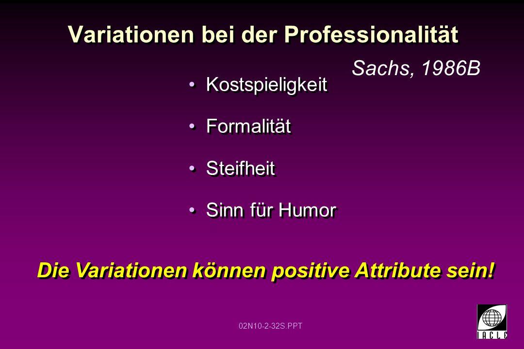 Variationen bei der Professionalität