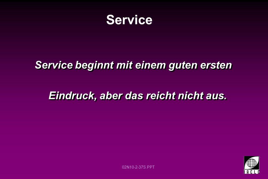 Service Service beginnt mit einem guten ersten Eindruck, aber das reicht nicht aus.