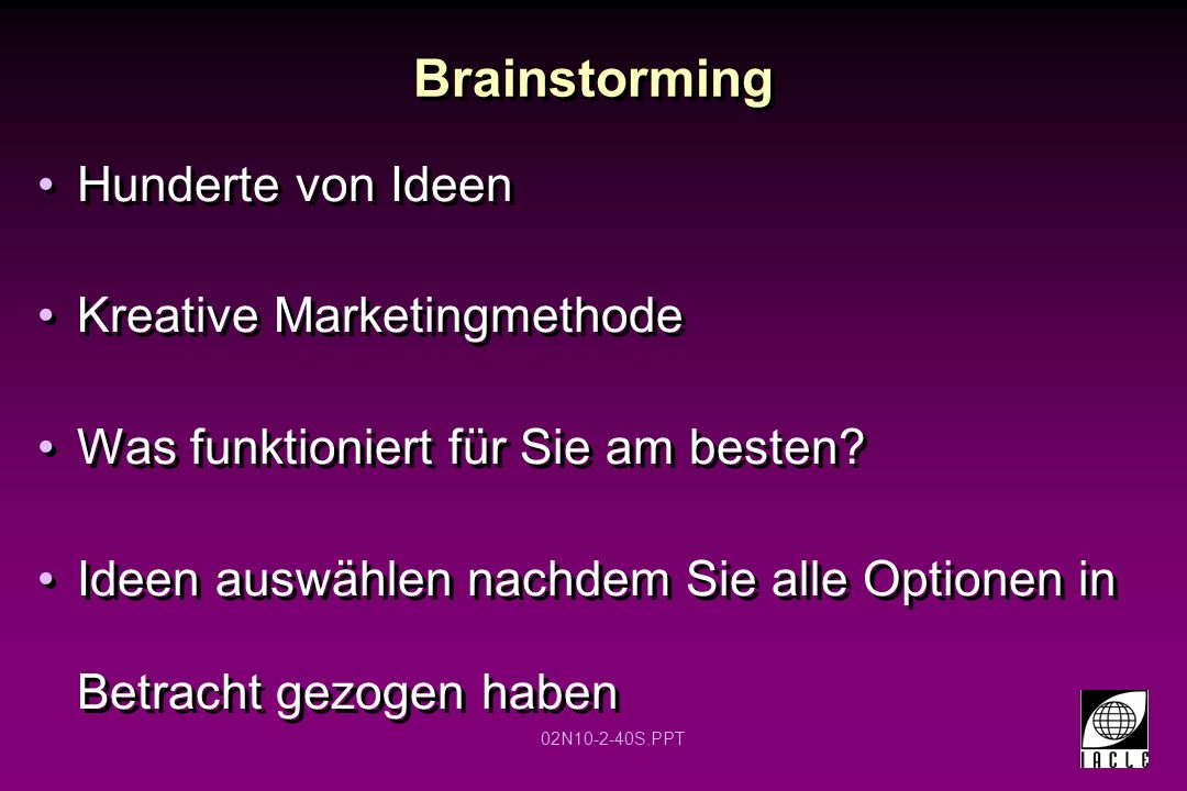 Brainstorming Hunderte von Ideen Kreative Marketingmethode