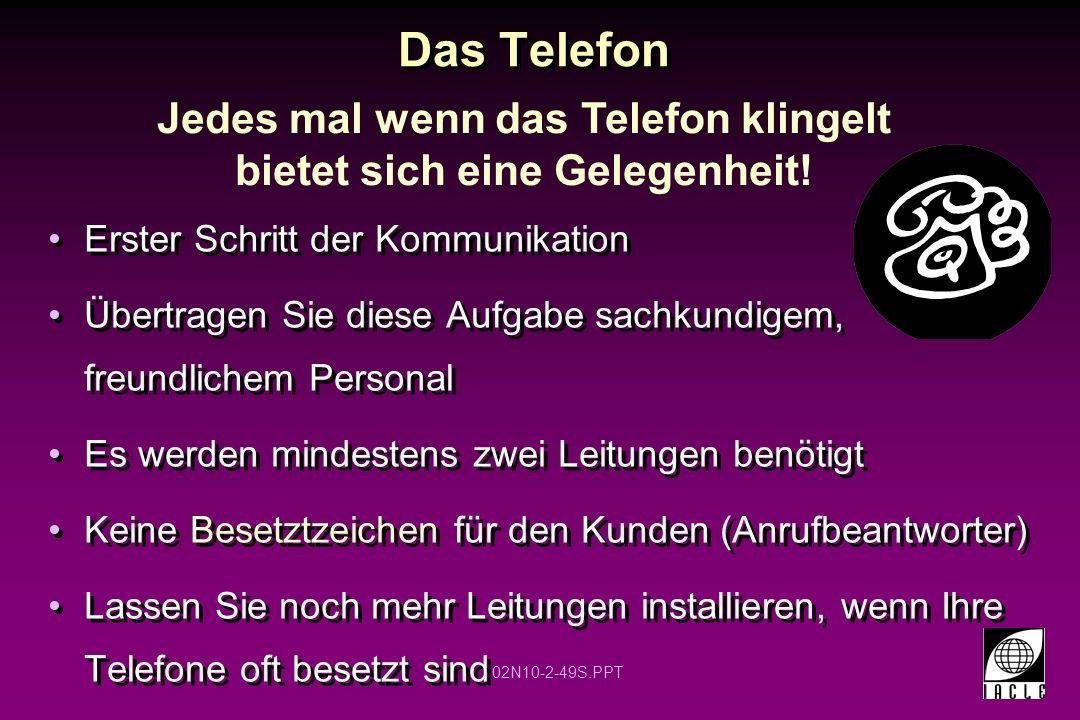 Jedes mal wenn das Telefon klingelt bietet sich eine Gelegenheit!