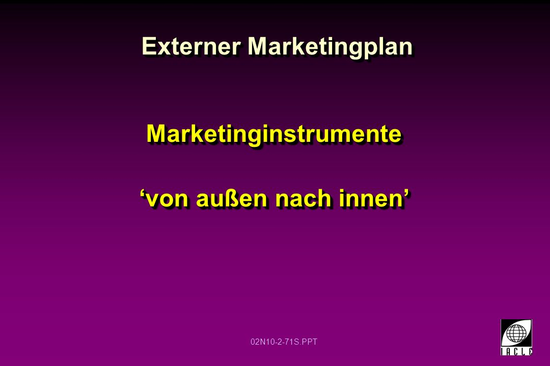 Externer Marketingplan