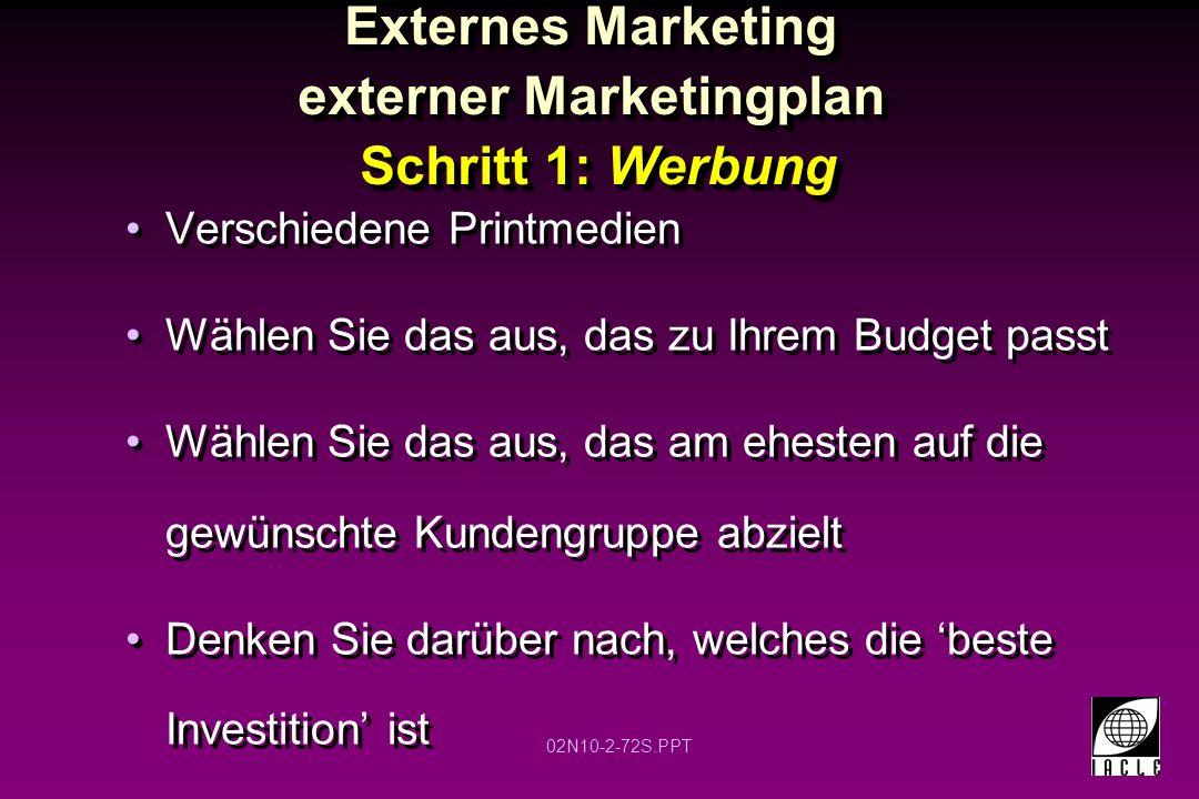 Externes Marketing externer Marketingplan Schritt 1: Werbung