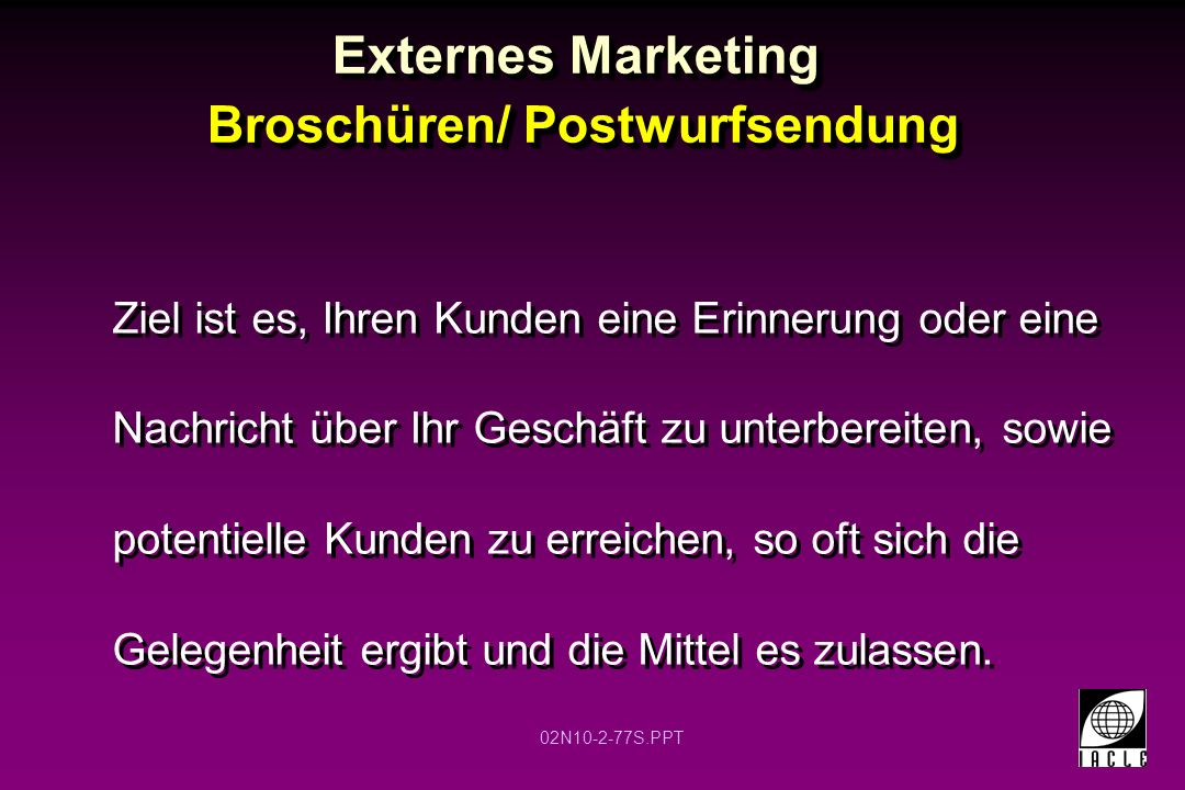 Externes Marketing Broschüren/ Postwurfsendung