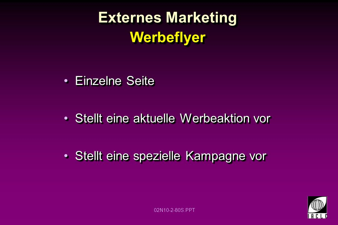 Externes Marketing Werbeflyer