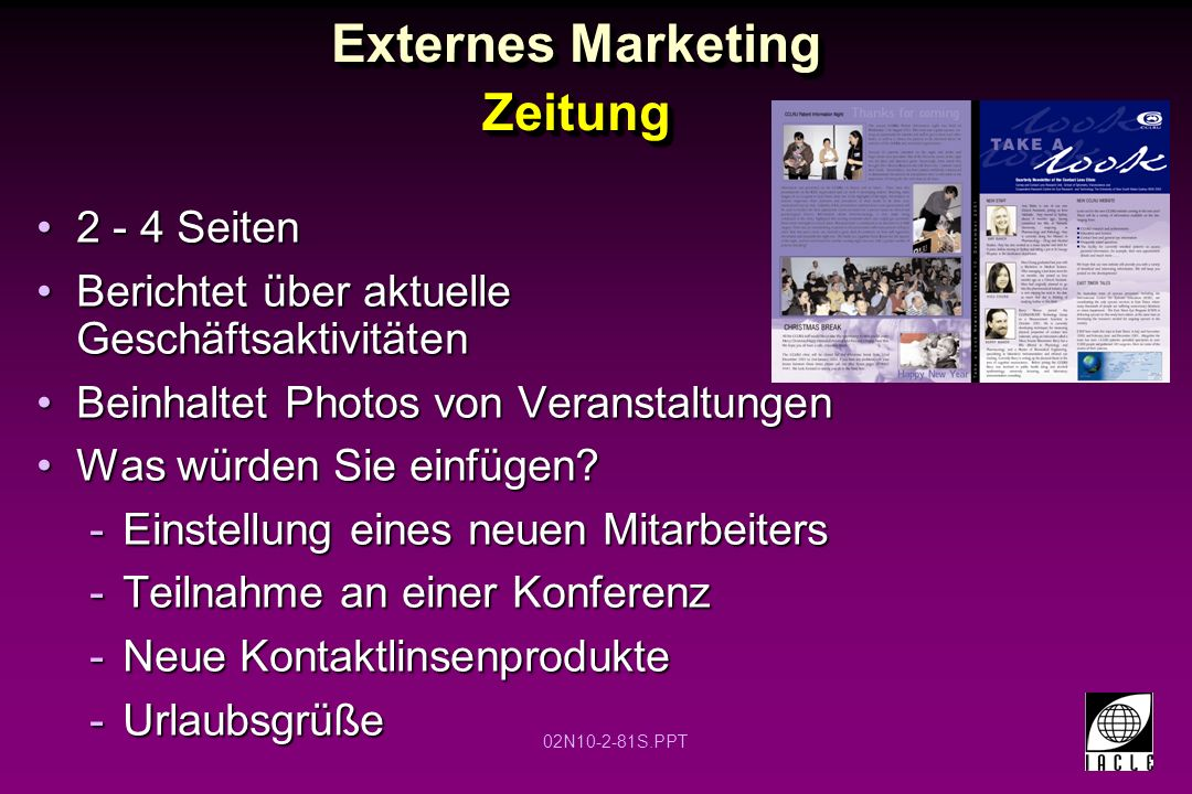 Externes Marketing Zeitung