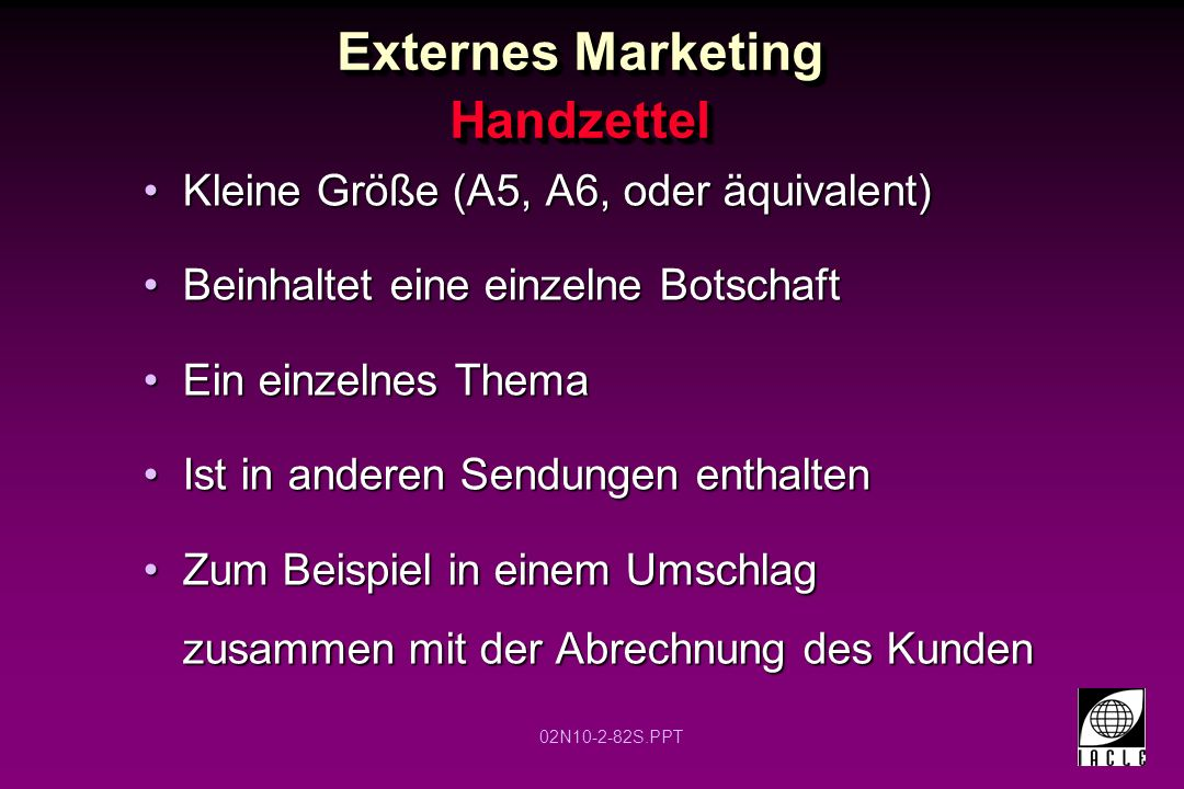 Externes Marketing Handzettel