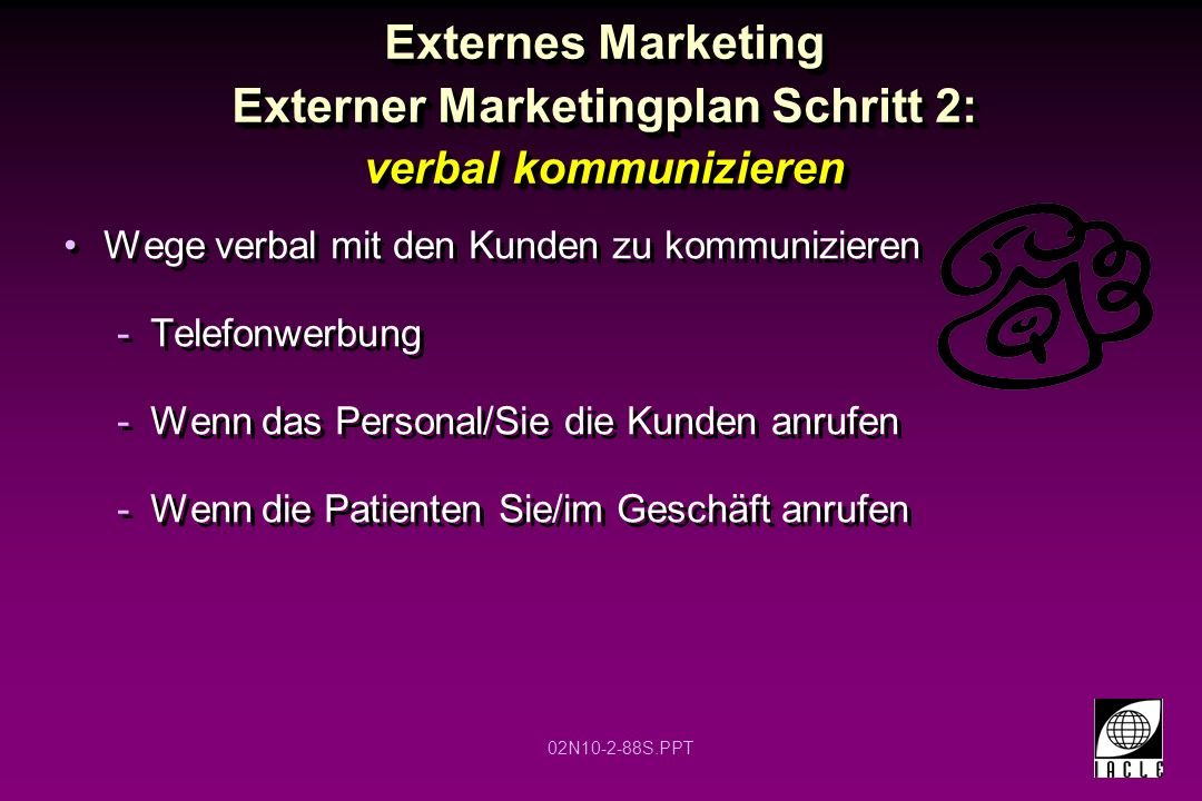 Externes Marketing Externer Marketingplan Schritt 2: verbal kommunizieren