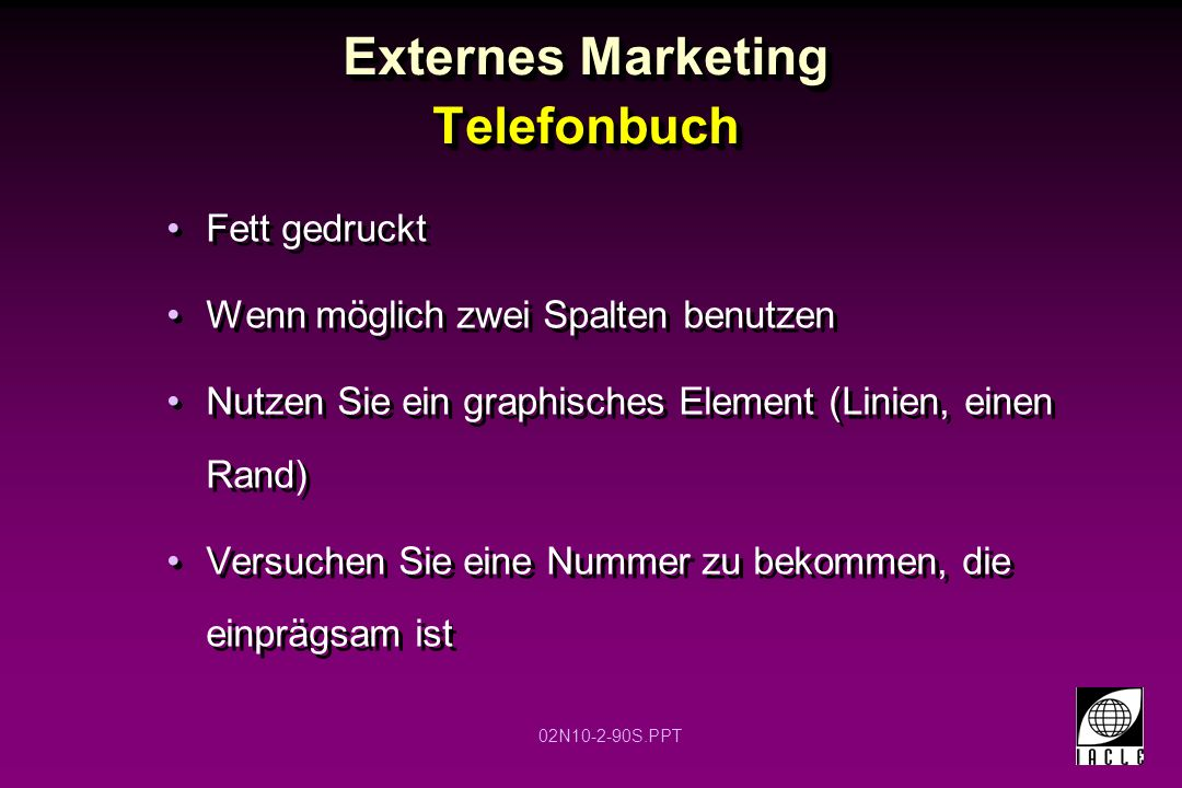 Externes Marketing Telefonbuch