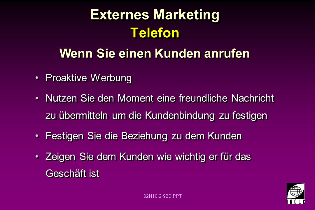 Externes Marketing Telefon