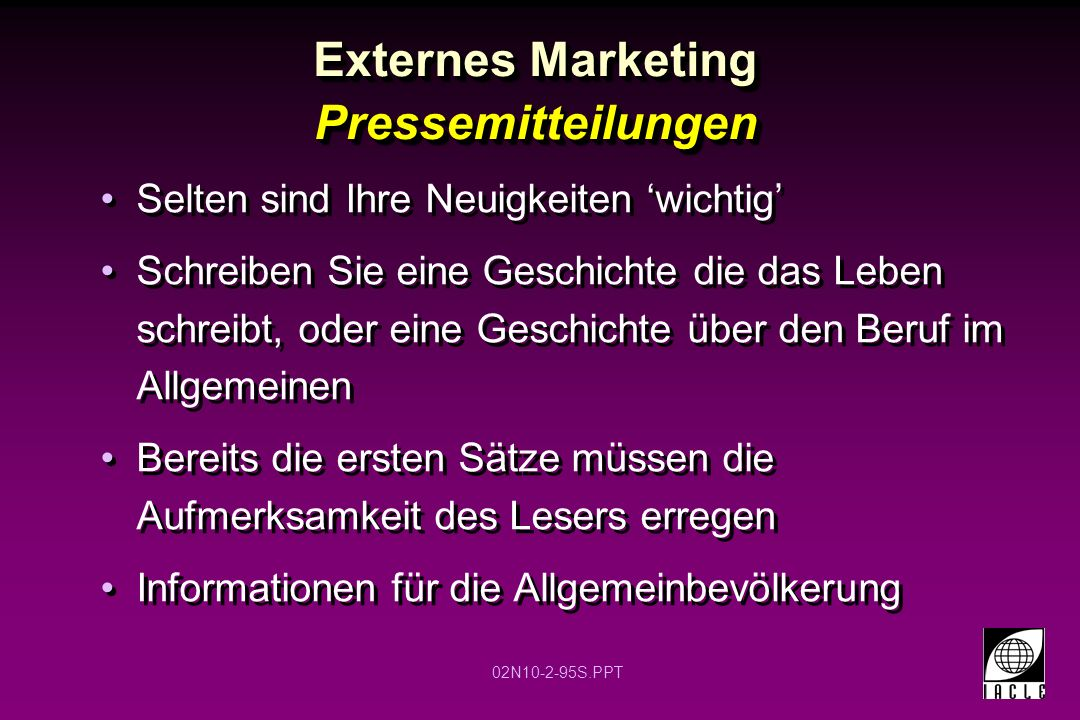 Externes Marketing Pressemitteilungen
