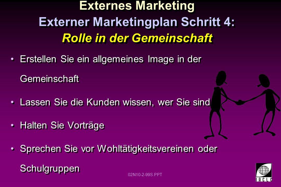 Externes Marketing Externer Marketingplan Schritt 4: Rolle in der Gemeinschaft