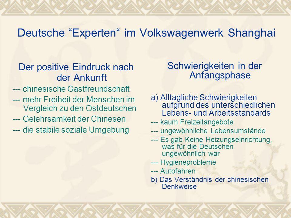Deutsche Experten im Volkswagenwerk Shanghai