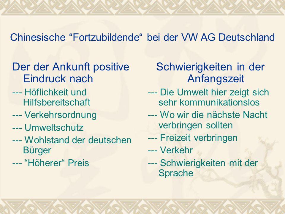 Chinesische Fortzubildende bei der VW AG Deutschland