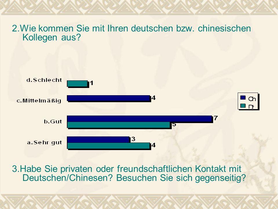 2.Wie kommen Sie mit Ihren deutschen bzw. chinesischen Kollegen aus