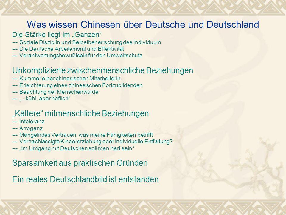 Was wissen Chinesen über Deutsche und Deutschland