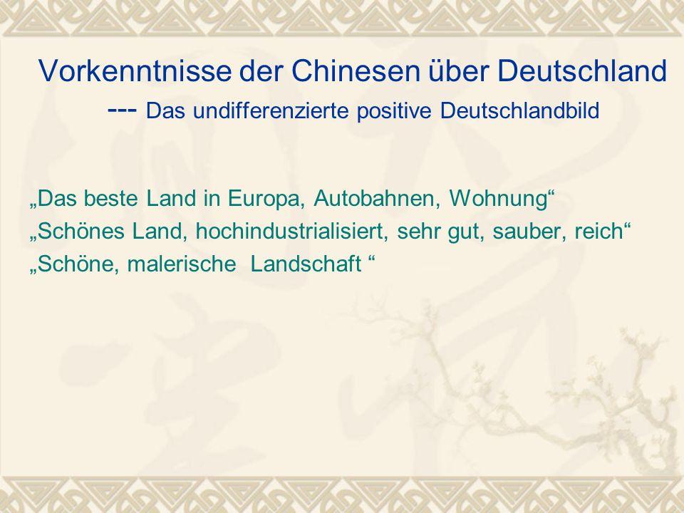 Vorkenntnisse der Chinesen über Deutschland --- Das undifferenzierte positive Deutschlandbild