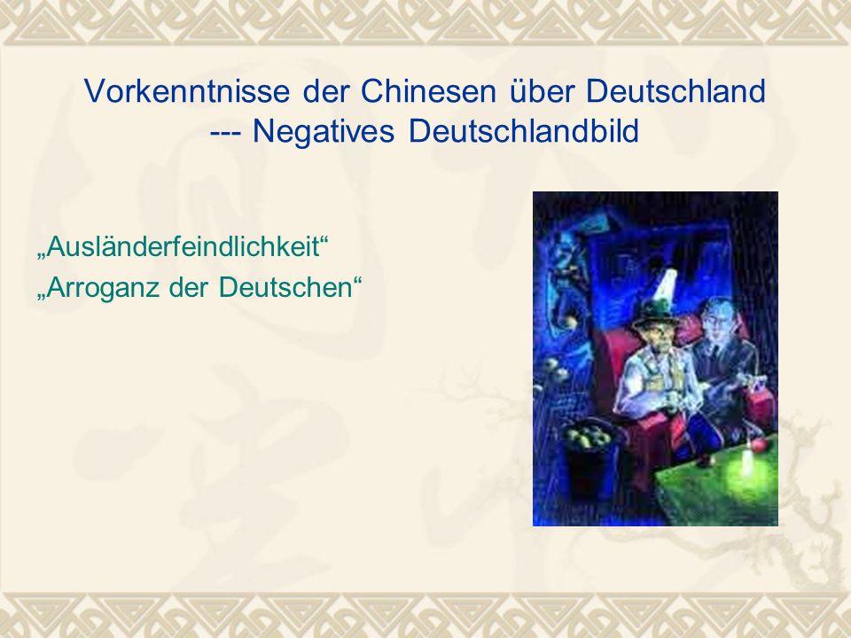 Vorkenntnisse der Chinesen über Deutschland --- Negatives Deutschlandbild