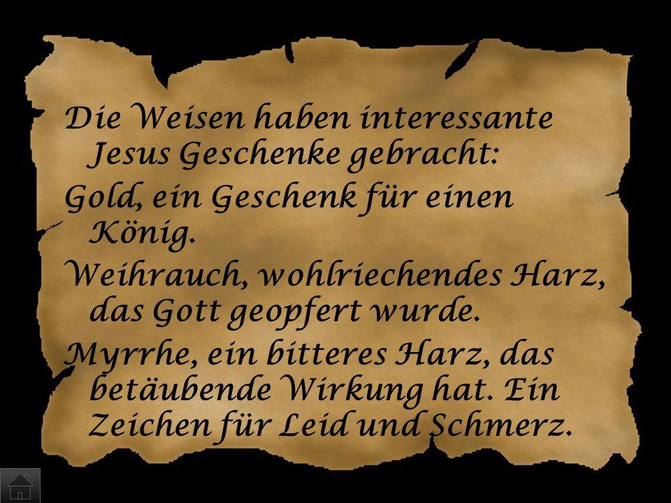 Die Weisen haben interessante Jesus Geschenke gebracht: Gold, ein Geschenk für einen König.