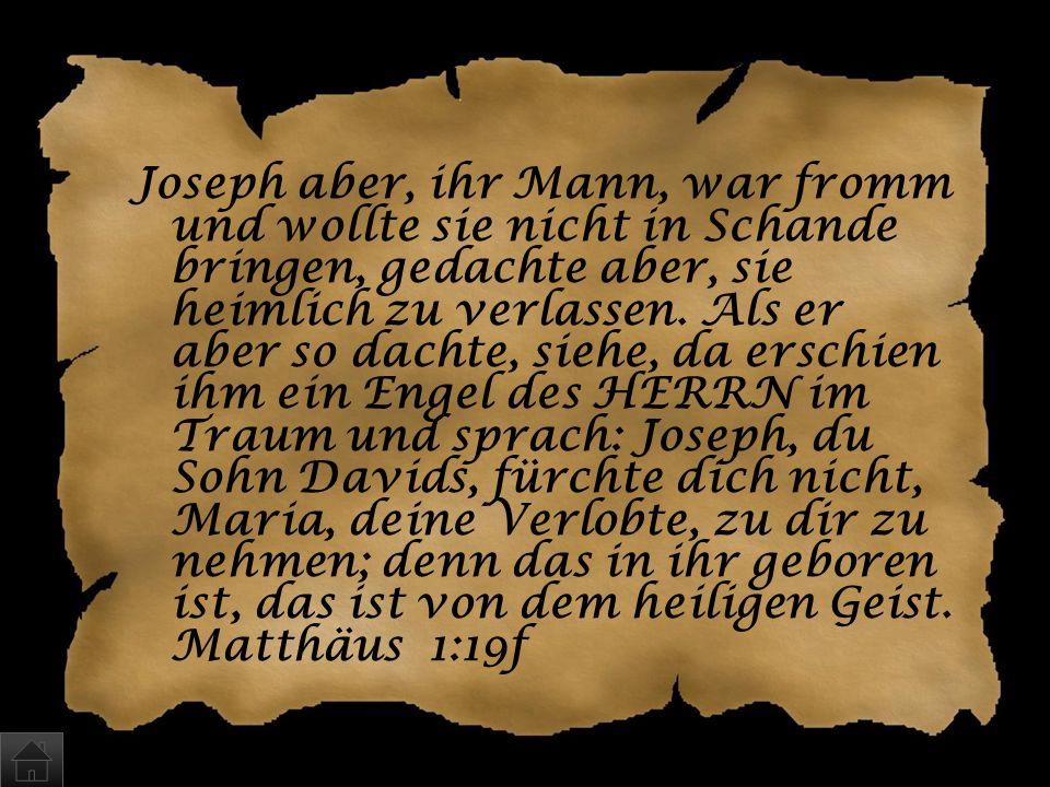 Joseph aber, ihr Mann, war fromm und wollte sie nicht in Schande bringen, gedachte aber, sie heimlich zu verlassen.