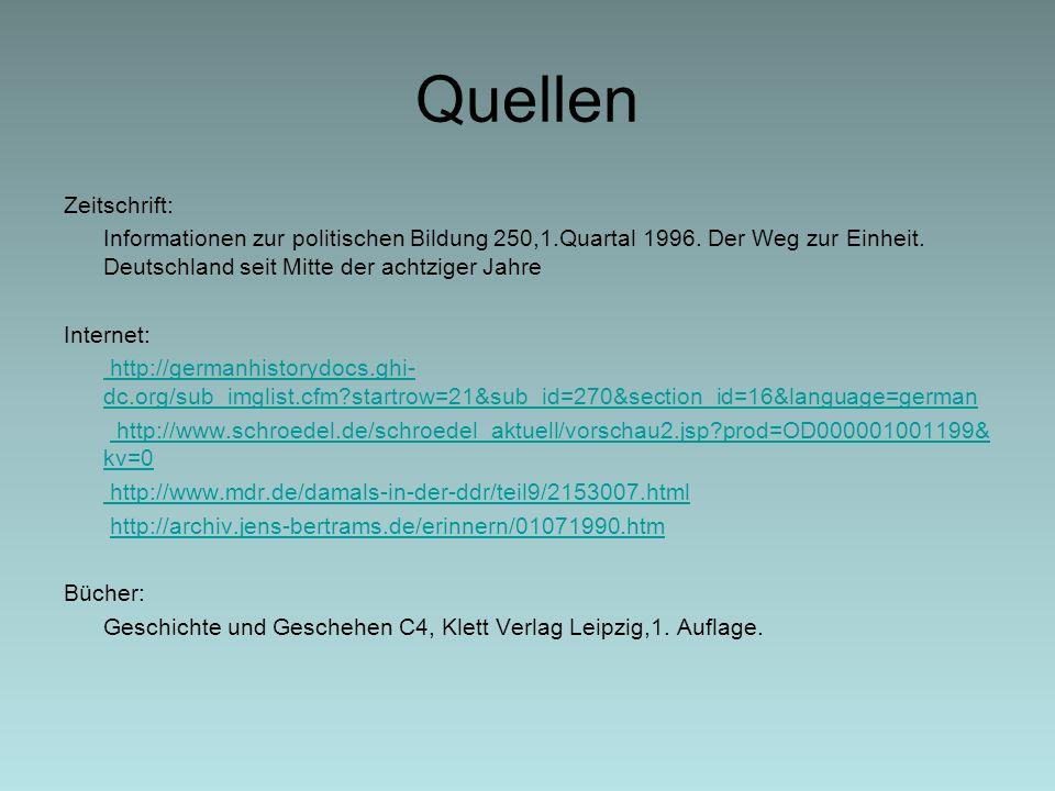Quellen Zeitschrift: Informationen zur politischen Bildung 250,1.Quartal 1996. Der Weg zur Einheit. Deutschland seit Mitte der achtziger Jahre.