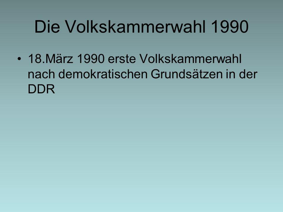 Die Volkskammerwahl 1990 18.März 1990 erste Volkskammerwahl nach demokratischen Grundsätzen in der DDR.