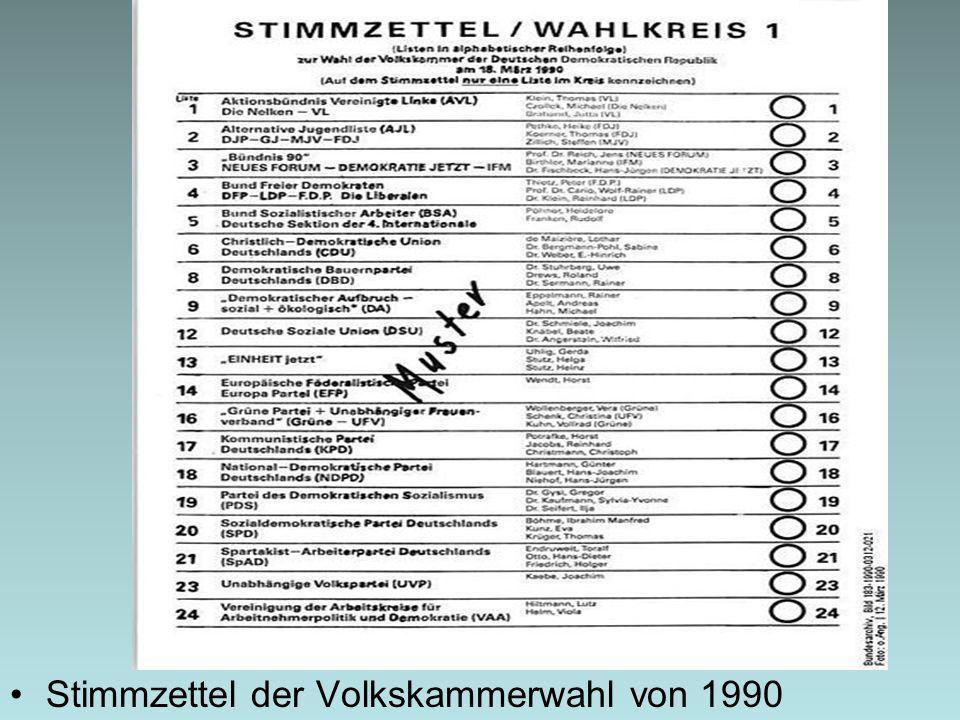 Stimmzettel der Volkskammerwahl von 1990