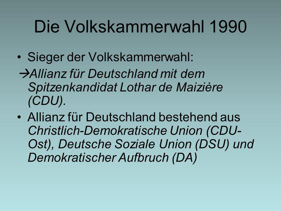Die Volkskammerwahl 1990 Sieger der Volkskammerwahl: