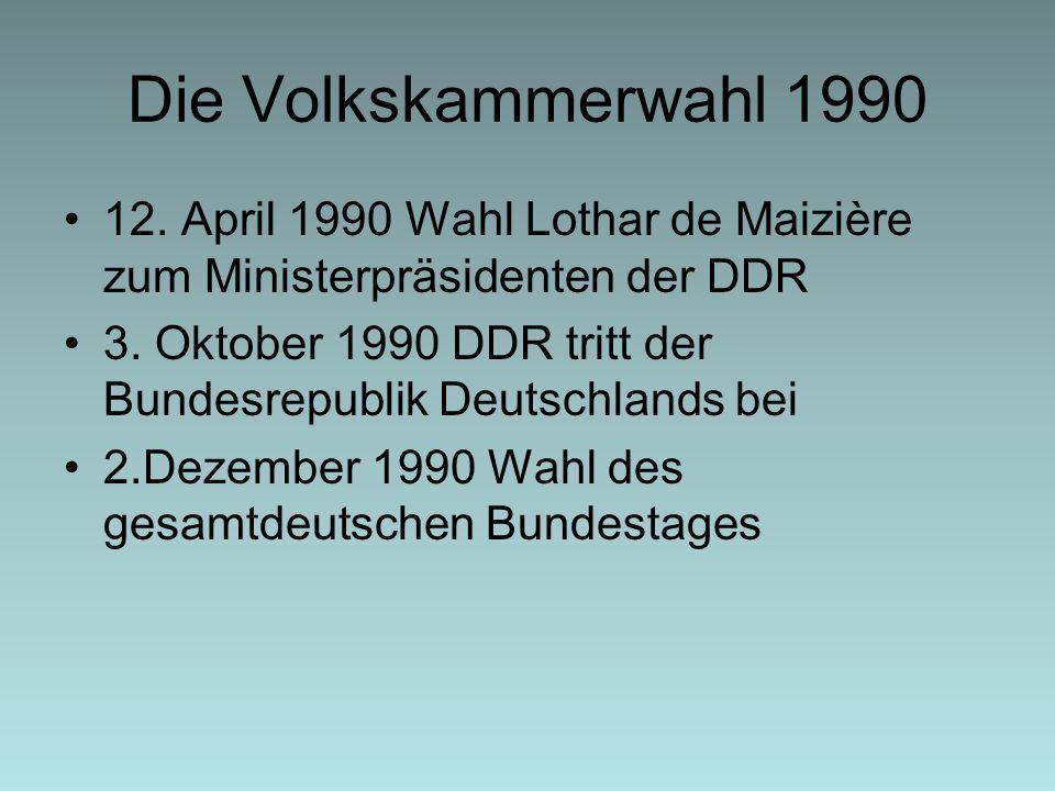 Die Volkskammerwahl 1990 12. April 1990 Wahl Lothar de Maizière zum Ministerpräsidenten der DDR.