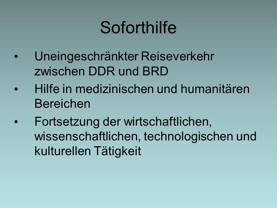 Soforthilfe Uneingeschränkter Reiseverkehr zwischen DDR und BRD