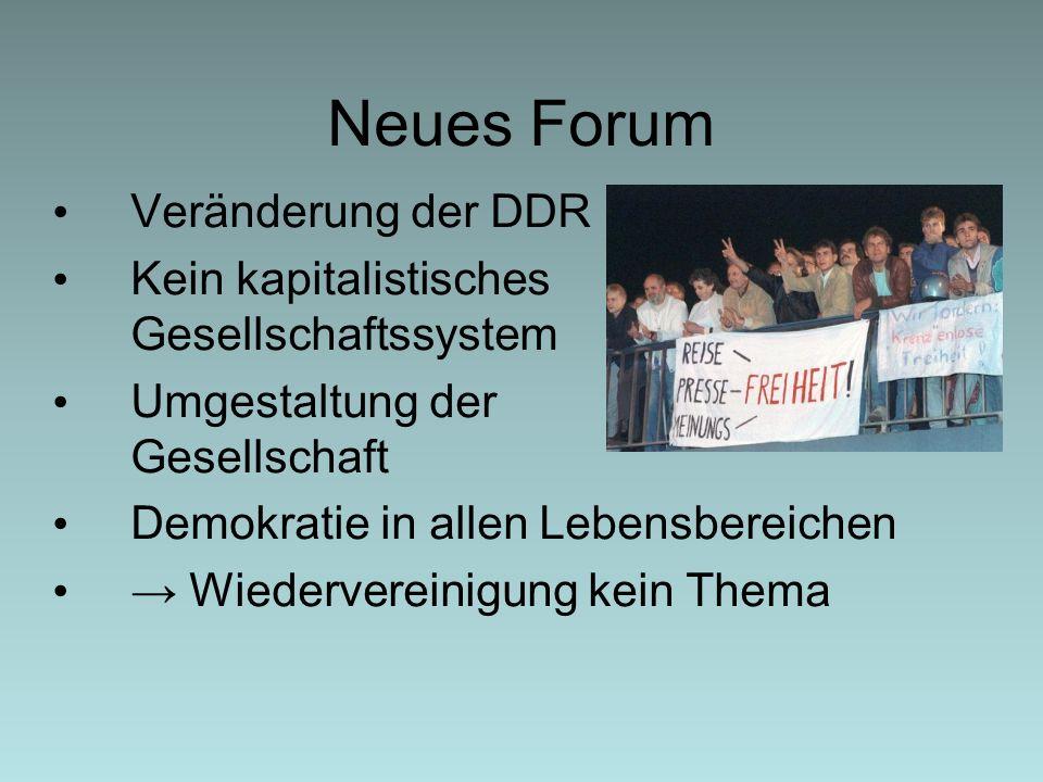 Neues Forum Veränderung der DDR