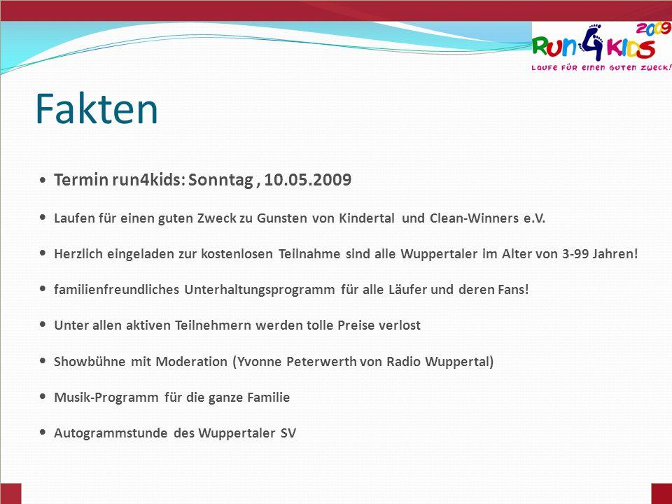 Fakten Termin run4kids: Sonntag , 10.05.2009