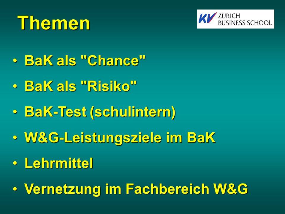 Themen BaK als Chance BaK als Risiko BaK-Test (schulintern)